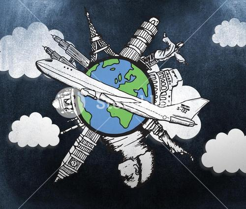 Composite image of landmarks of the world with airplane doodle