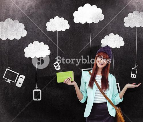 Composite image of smiling hipster woman with bag and book