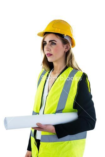 Woman holding construction plan