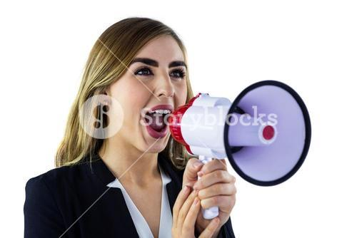 Woman with a megaphone