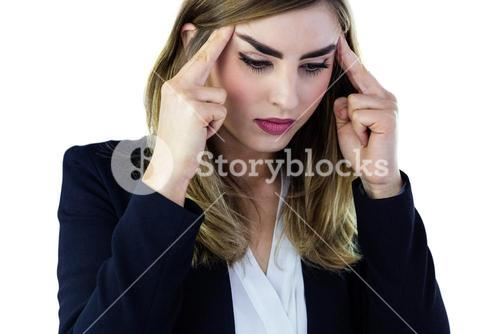 Woman touching her temples