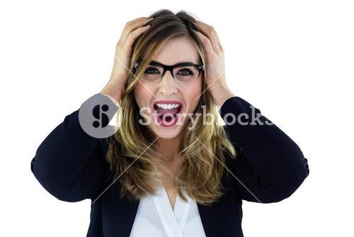 Shouting woman touching her head