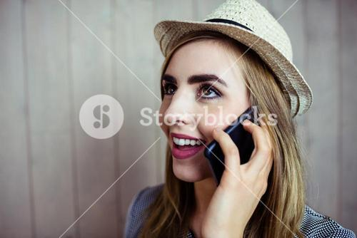 Pretty blonde woman on the phone