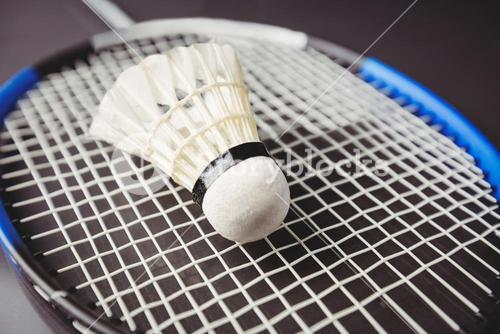 Close up of shuttlecock and badminton racket