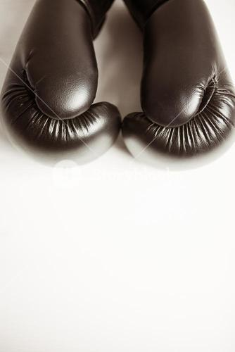 View of boxing gloves