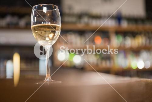 View of glass of white wine