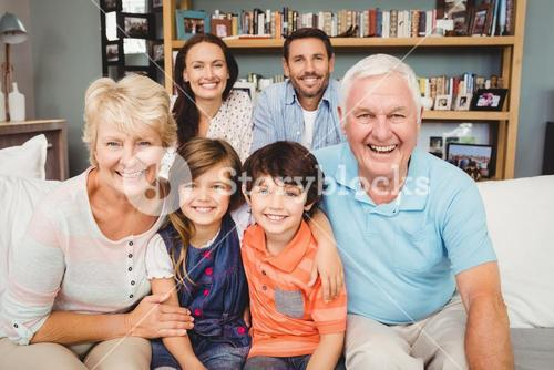 Portrait of happy family with grandparents