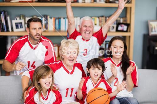Cheerful family with grandparents watching basketball match