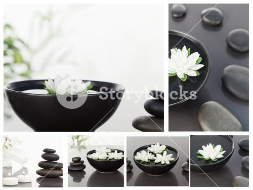 Collage of several bowls with pebbles