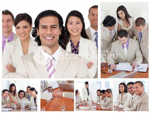 Collage of smiling businesspeople in different situations