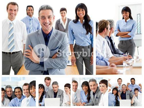 Collage of glad businesspeople in different situations