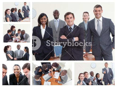 Collage of businesspeople posing in different situations