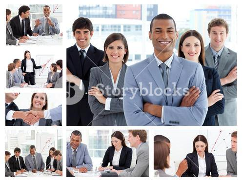 Collage of businesspeople in many situations