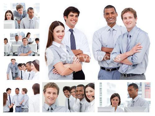 Collage of businesspeople in several situations