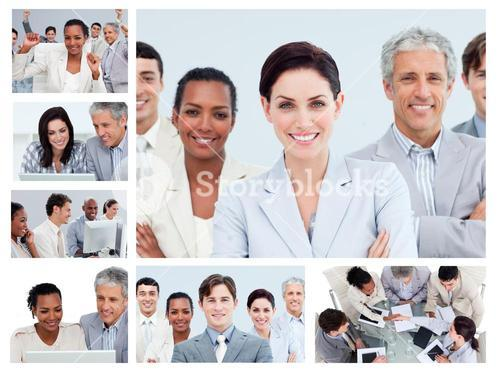 Collage of middleaged businesspeople in different situations