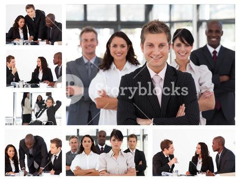 Collage of young businesspeople in different situations