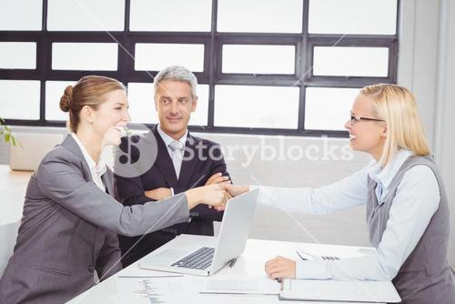 Happy business people handshaking with client