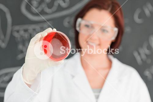 Redhead scientist holding a petri dish with the camera focused on the object