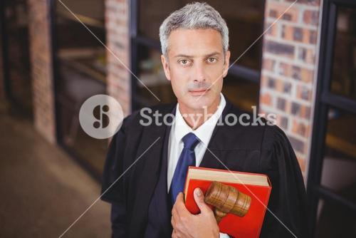 Confident male lawyer with gavel and red book