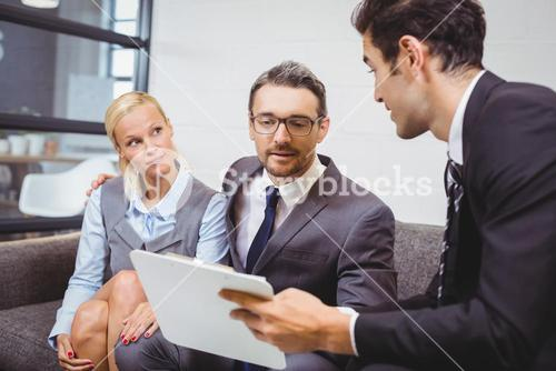Business people with clipboard