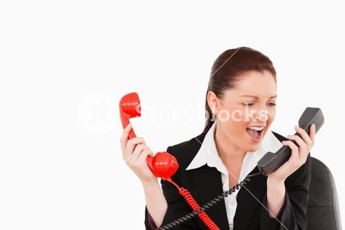 Cute secretary driven crazy by the phone calls