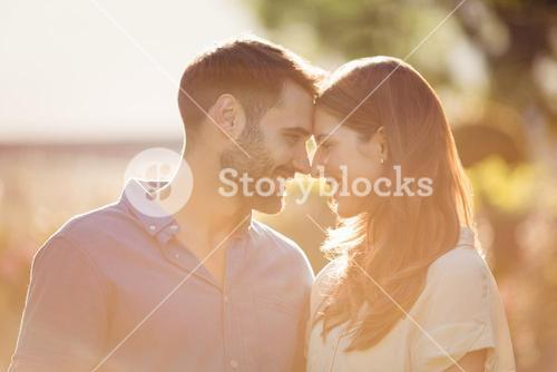 Close-up of couple romancing