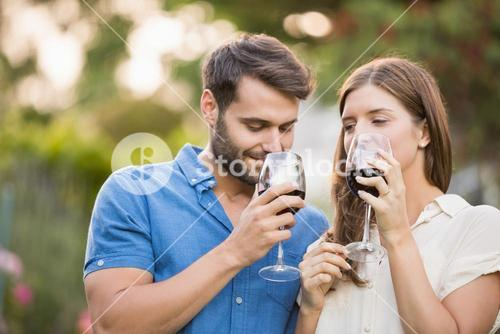 Couple drinking wine at park