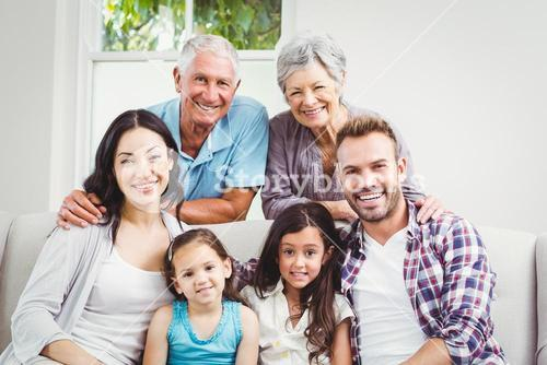 Portrait of happy multi generation family