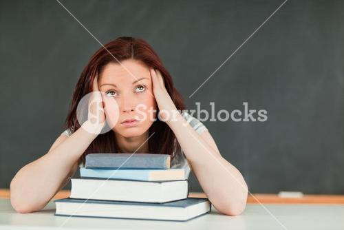 Tired young female student