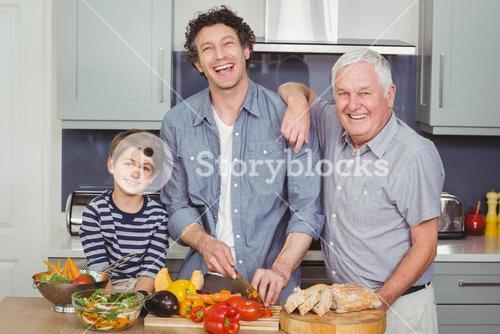 Portrait of smiling family in kitchen