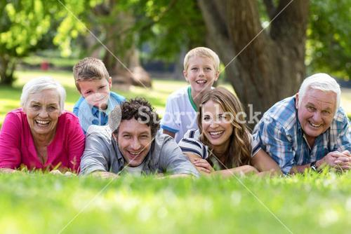 Smiling family lying in the grass