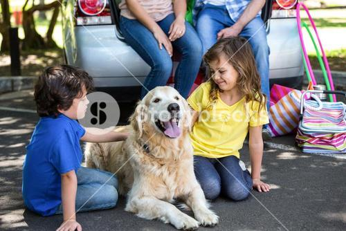 Children ruffling the dogs fur