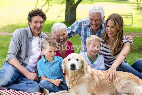 Family with dog in the park
