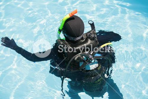 Young woman on scuba training