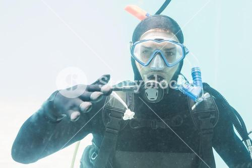 Young man on scuba training