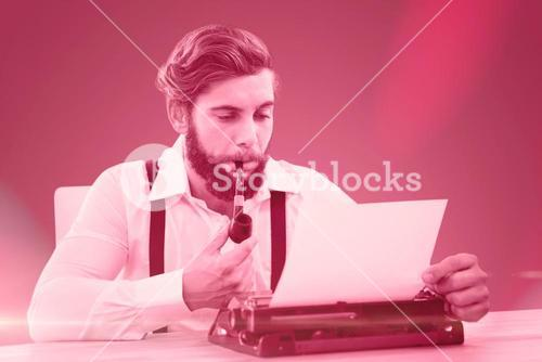 Composite image of hipster with smoking pipe working on typewriter