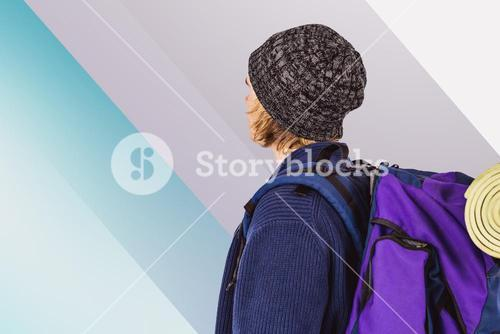 Composite image of side view of backpacker hipster