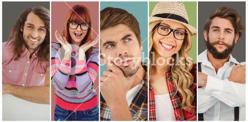 Composite image of confident hipster pointing sideways with arms crossed