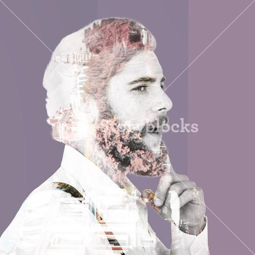 Composite image of thoughtful hipster with finger on chin
