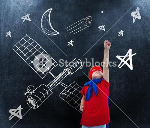 Composite image of masked boy pretending to be superhero on white screen