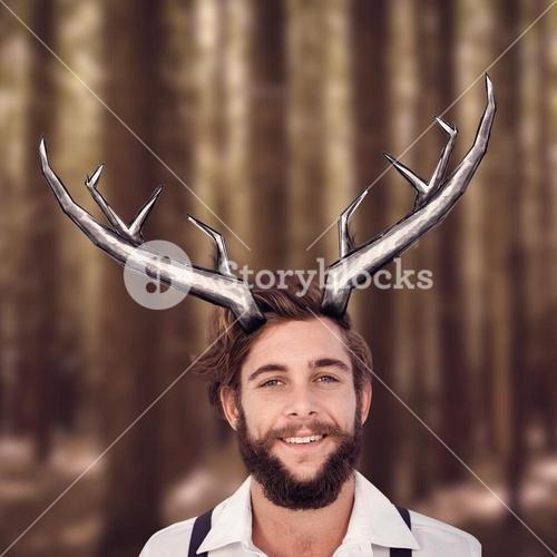 Composite image of portrait of happy hipster