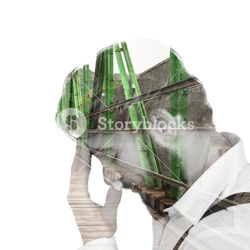 Composite image of frustrated hipster with head in hand