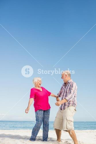Funny senior couple laughing