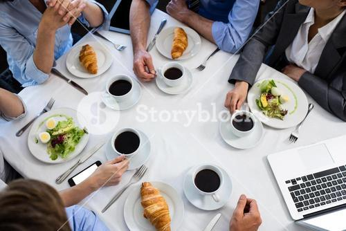 Table in restaurant during business meeting
