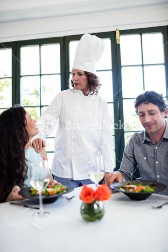 Couple complaining about the food to chef