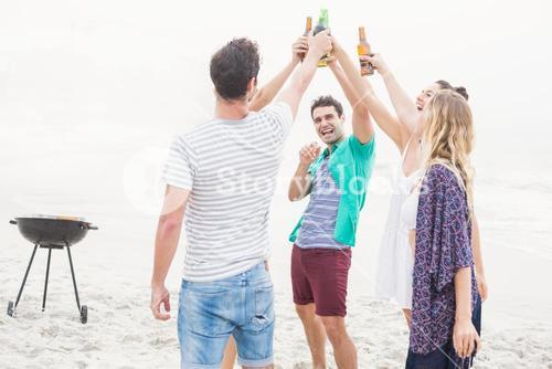 Group of friends toasting beer bottles on the beach
