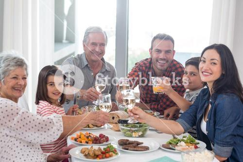 Family together having meal
