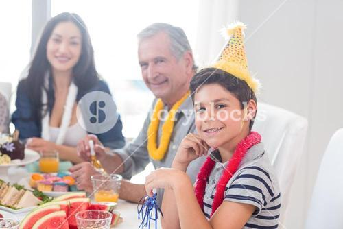 Happy family celebrating a birthday