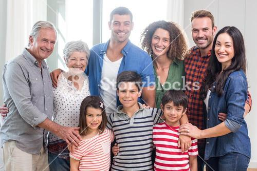 Happy family together at home
