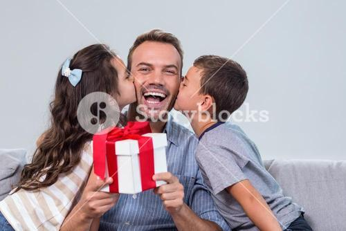 Father holding a gift